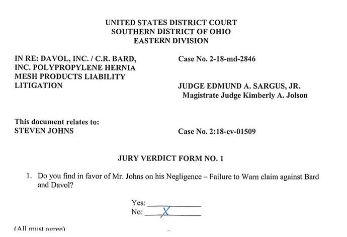 Johna jury verdict form Negligence failure to Warn not optimized